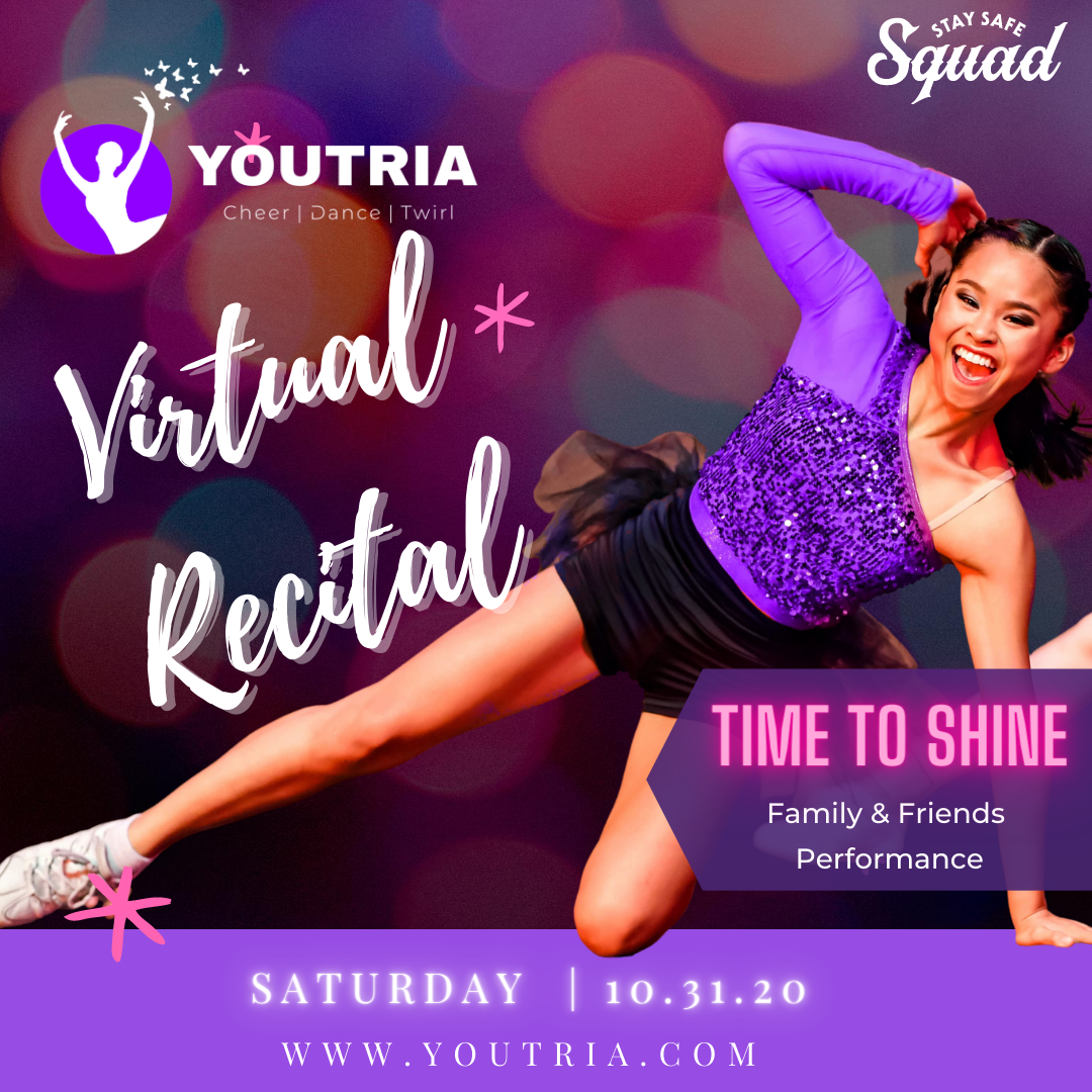 Smiling dancer performing at Virtual Recital for Family & Friends at Youtria