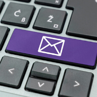 Close up of Purple Email Button on Keyboard
