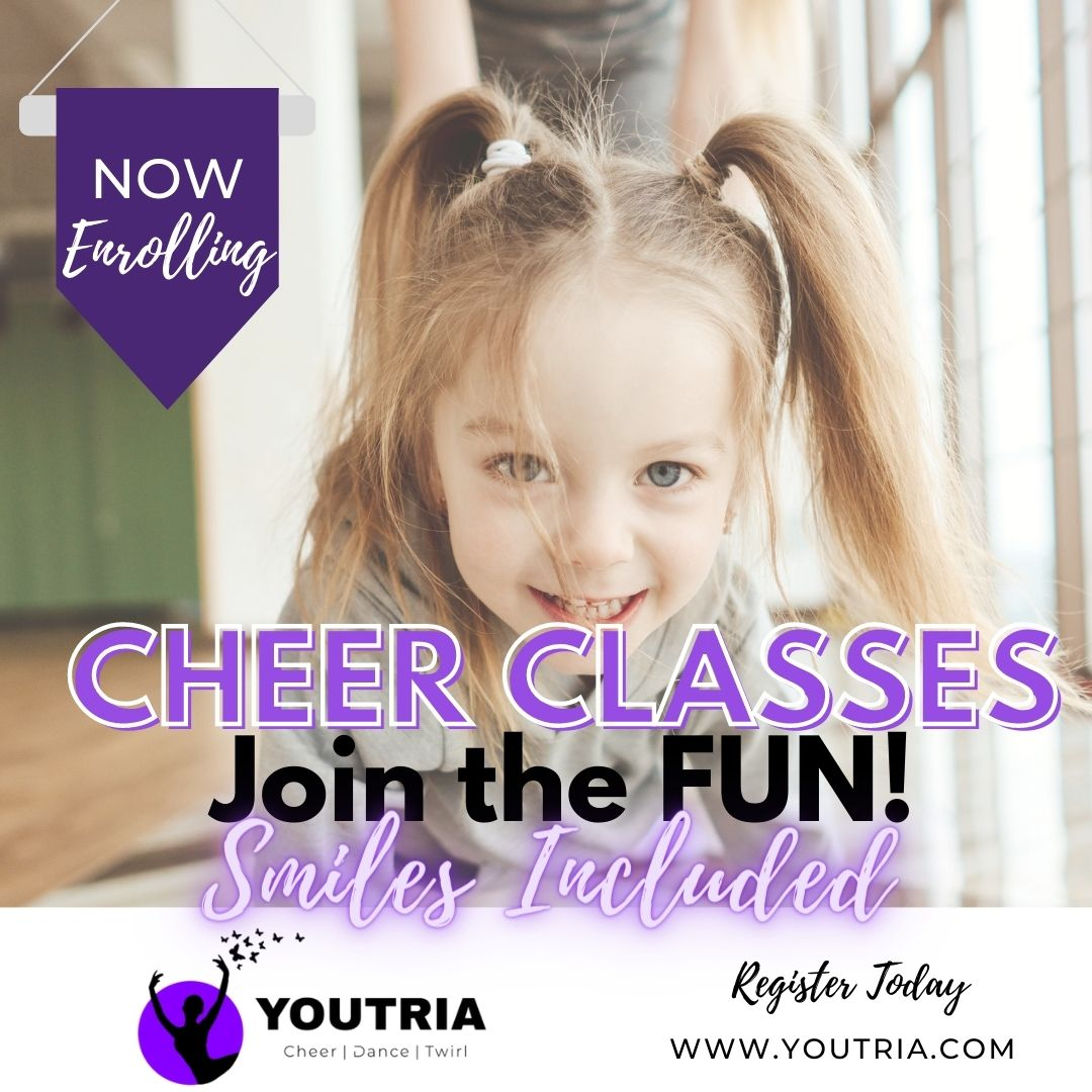 Happy smiling girl at fun Cheerleading Class